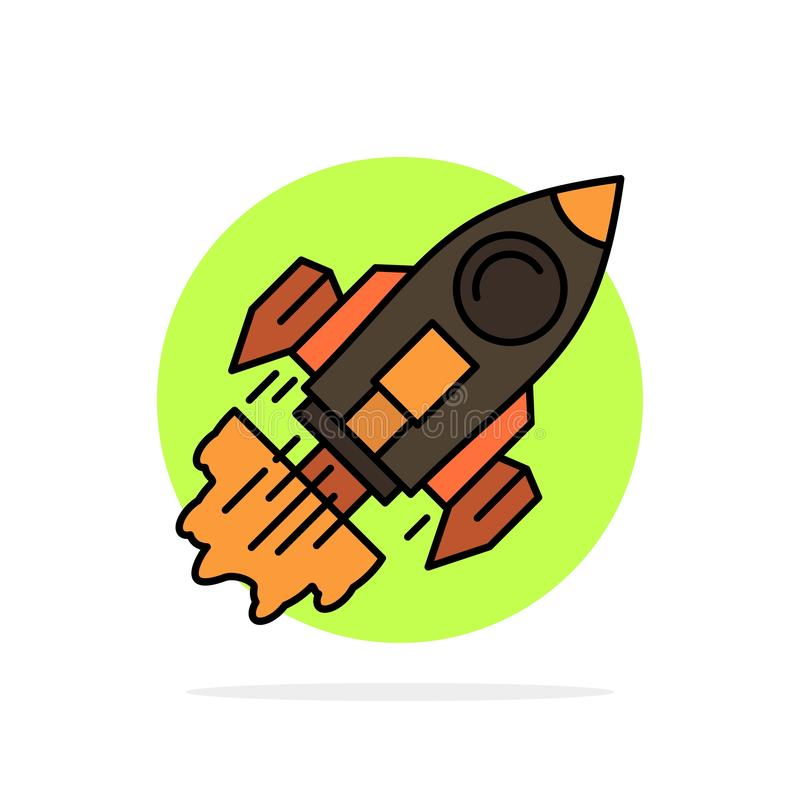 Startup, Business, Goal, Launch, Mission, Spaceship Abstract Circle Background Flat color Icon royalty free illustration