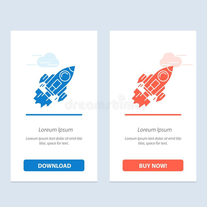 Startup, Business, Goal, Launch, Mission, Spaceship  Blue and Red Download and Buy Now web Widget Card Template vector illustration