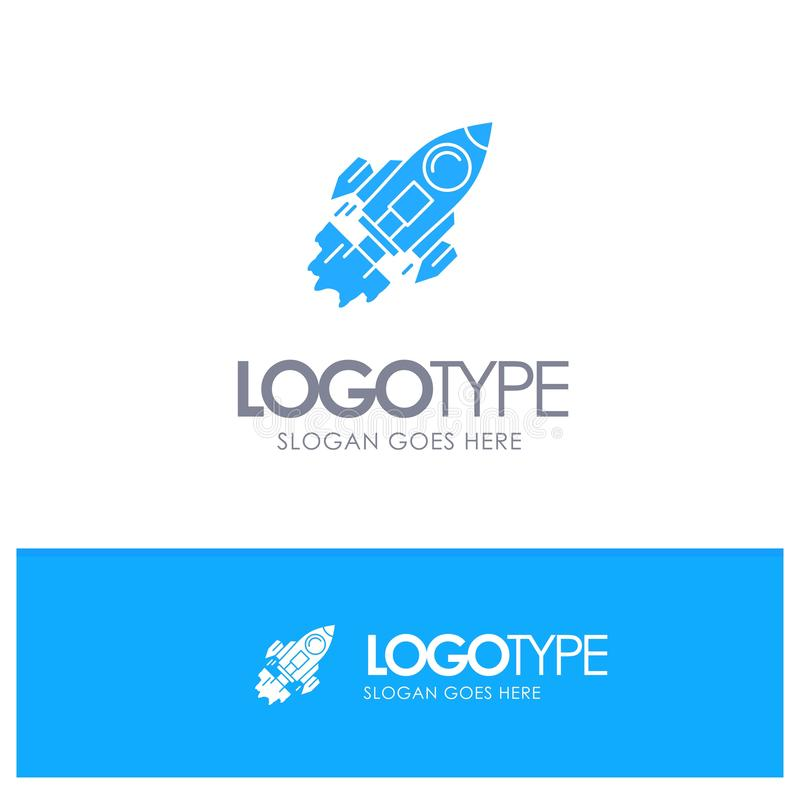 Startup, Business, Goal, Launch, Mission, Spaceship Blue Solid Logo with place for tagline stock illustration
