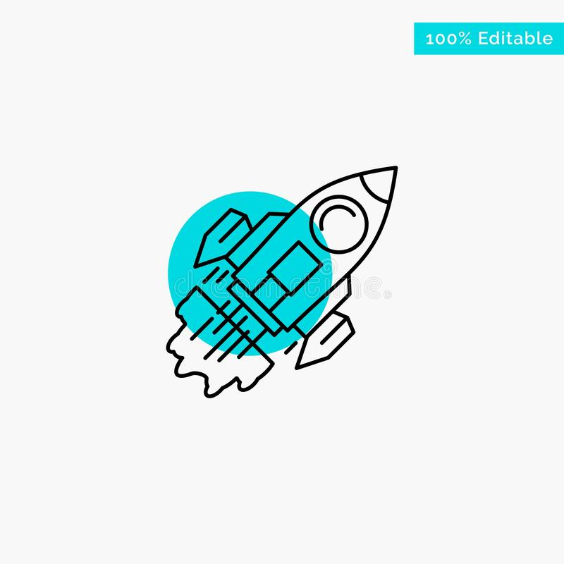 Startup, Business, Goal, Launch, Mission, Spaceship turquoise highlight circle point Vector icon stock illustration