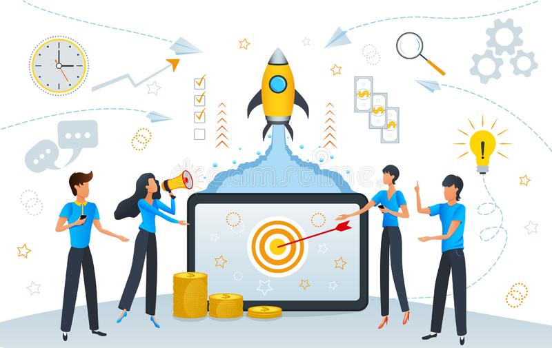 Startup business growth or success, cartoon team people working for their start up project planning and management, SEO strategy royalty free illustration