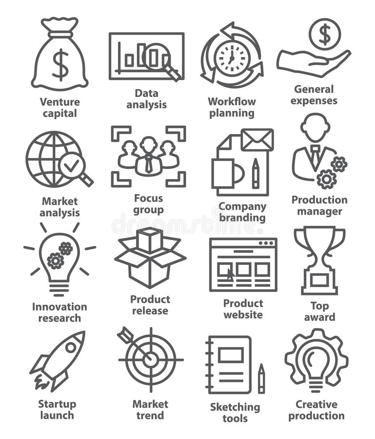 Startup business icons in line style. Startup business and development icons in line style on white stock illustration