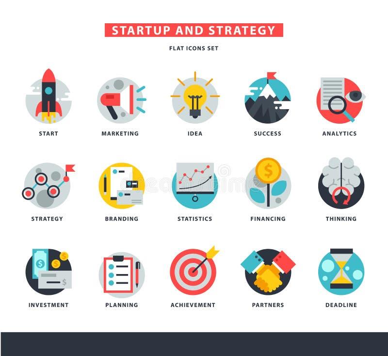Startup business icons vector start up strategy marketing idea innovation or businessplanning illustration of rocket or royalty free illustration