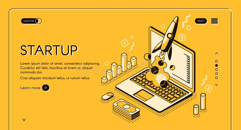 Startup business isometric line vector illustration. Startup business project vector illustration in thine line isometric design on yellow halftone background stock illustration