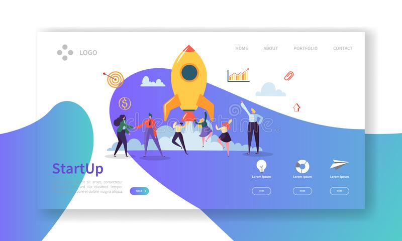 Startup Business Landing Page. New Project Banner with Flat People Characters Launching Rocket Website Template vector illustration