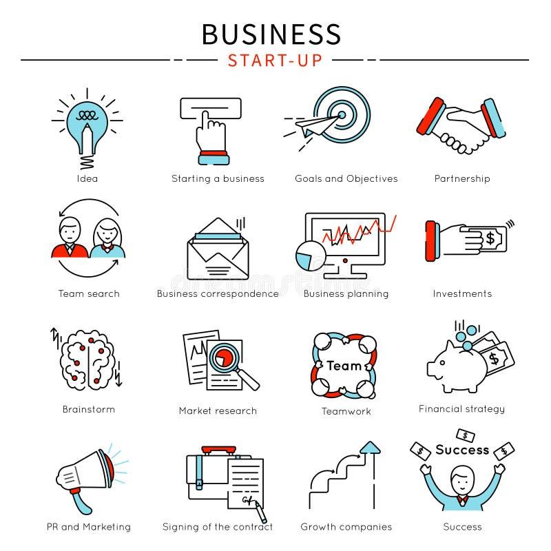 Startup Business Line Icon Set. With descriptions of idea partnership team search brainstorm investment vector illustration vector illustration