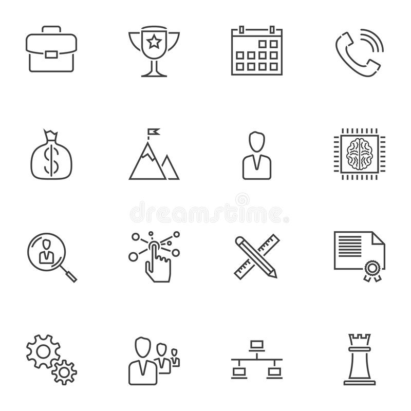 Startup business line icons set. Linear style symbols collection, outline signs pack. vector graphics. Set includes icons as portfolio, award cup, money bag vector illustration