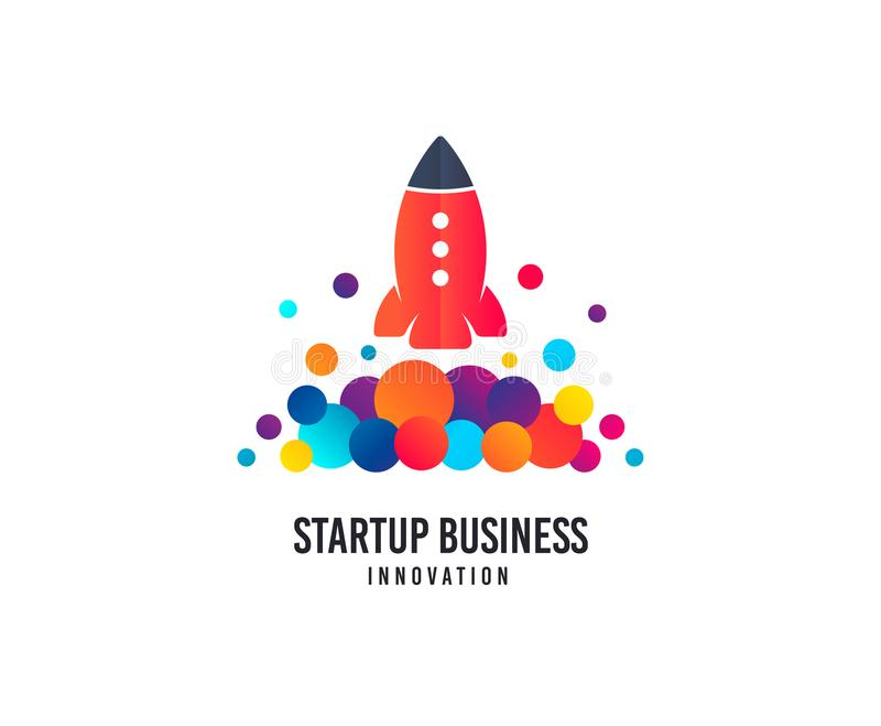 Startup business logo. Space rocket vector icon with dots. Creativity studio logo. vector illustration