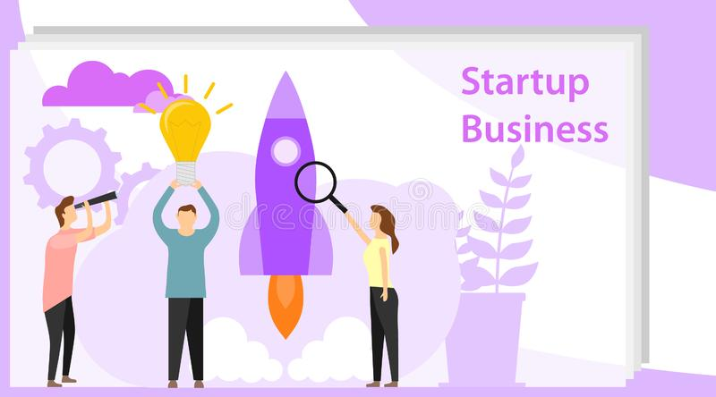 Startup business. Mini people run a startup. Flat vector illustration of a business startup stock photo
