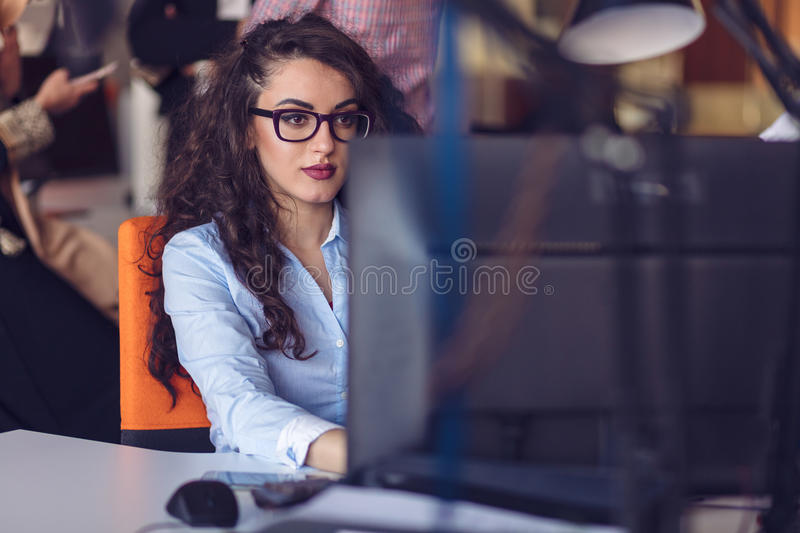 Startup business people group working everyday job at modern office stock photography