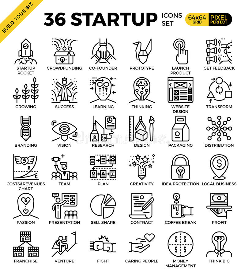 Startup business pixel perfect outline icons royalty free illustration