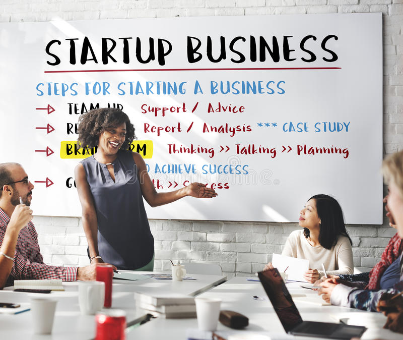 Startup Business Plan Steps Graphic Concept stock photography