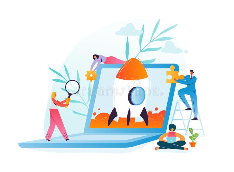 Startup Business Project Teamwork Concept. Business Characters Launching Rocket from Laptop. Modern Technology. Management and Innovation Idea with People royalty free illustration