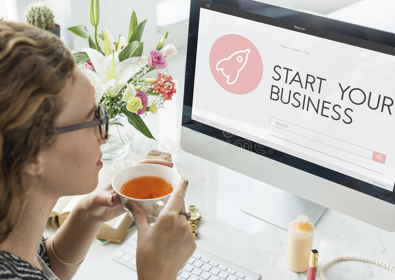 Startup Business Spaceship Goals Launch Concept royalty free stock photos