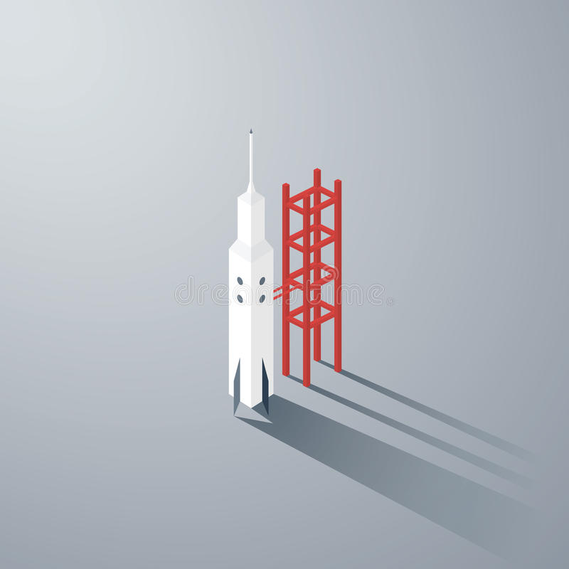 Startup business symbol. Isometric 3d rocket model vector illustration