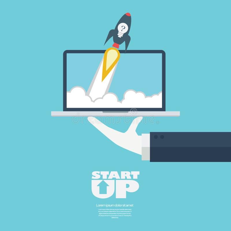 Startup business symbol rocket launch. Flying off a laptop on serving businessman hand. vector illustration