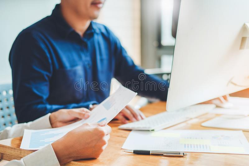 Startup business team colleagues meeting Planning Strategy Analysis discussing new plan financial on graph data new business royalty free stock photo