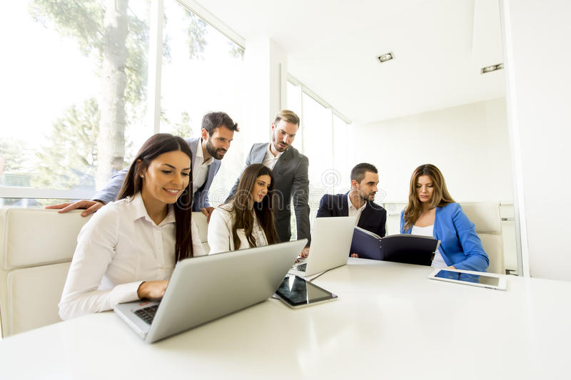 Startup business team on meeting in modern bright office stock photo