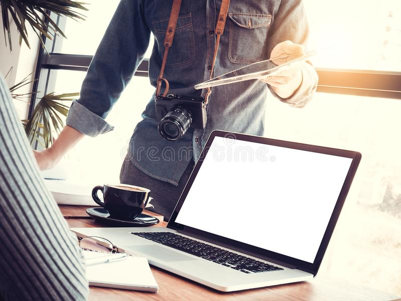 Startup business teamwork concept. Group of young Asian coworker royalty free stock photos