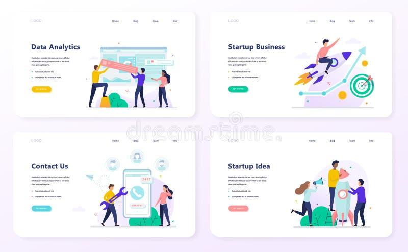 Startup business web banner concept set. Data analytics royalty free illustration