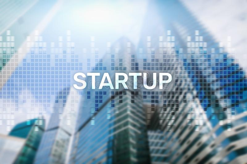 Startup concept with double exposure diagrams blurred background.  stock photo