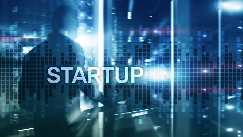 Startup concept with double exposure diagrams blurred background. stock photography