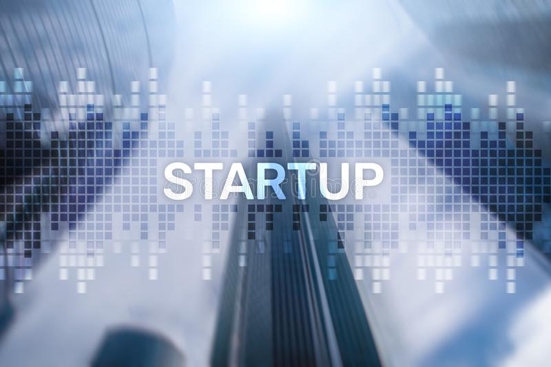 Startup concept with double exposure diagrams blurred background success design multiexposure solutions idea finance skyskraper stock photo
