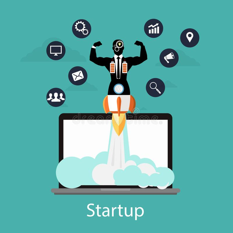 Startup concept, flat businessman style quick rocket launch and computer or desktop pc. Startup concept, flat businessman style quick rocket launch and computer vector illustration