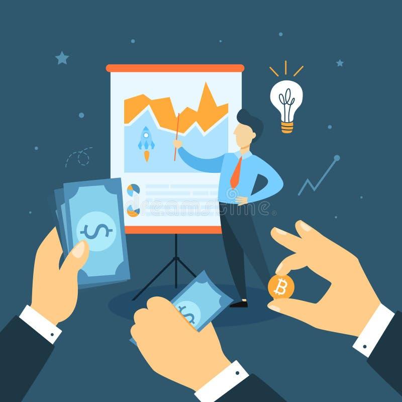 Startup concept illustration. Man with data board vector illustration