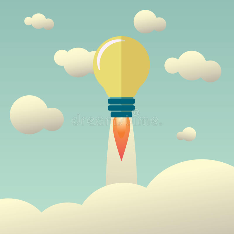Startup concept with light bulb flying above vector illustration