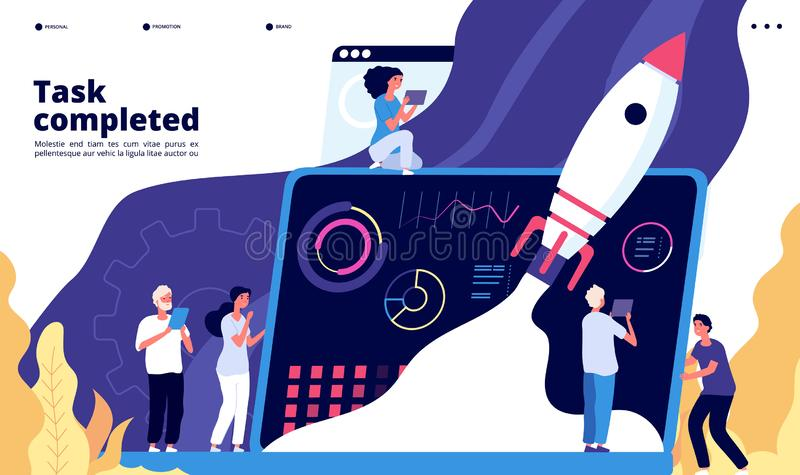 Startup concept. People launch spaceship rocket, start new project. Start-up app landing web page vector design vector illustration