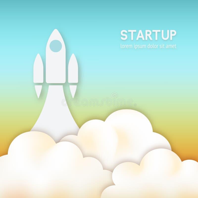 Startup concept. rocket flying up in sky stock illustration