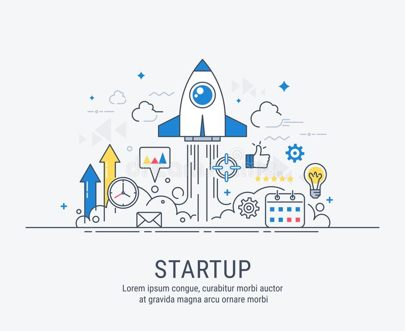 Startup concept with thin line flat modern design. For web royalty free illustration