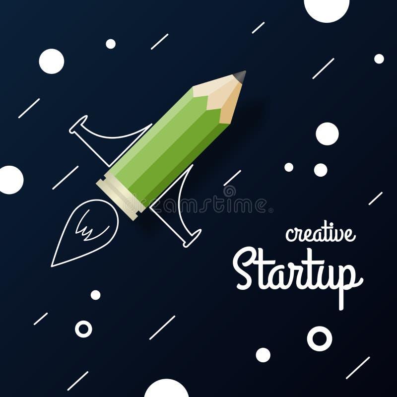 startup Crayonnez la fusée sur un dessin un fond abstrait illustration de vecteur