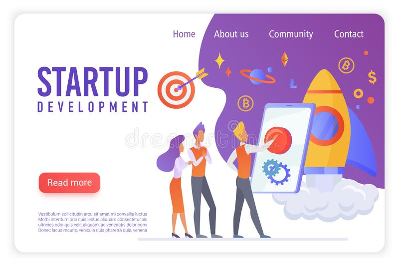 Startup development flat vector landing page template. Creative people discussing innovative project. Young businessman royalty free illustration