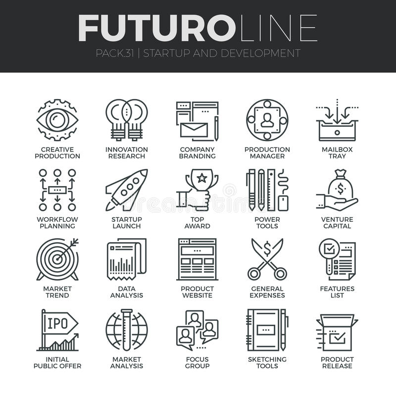 Startup and Development Futuro Line Icons Set stock illustration