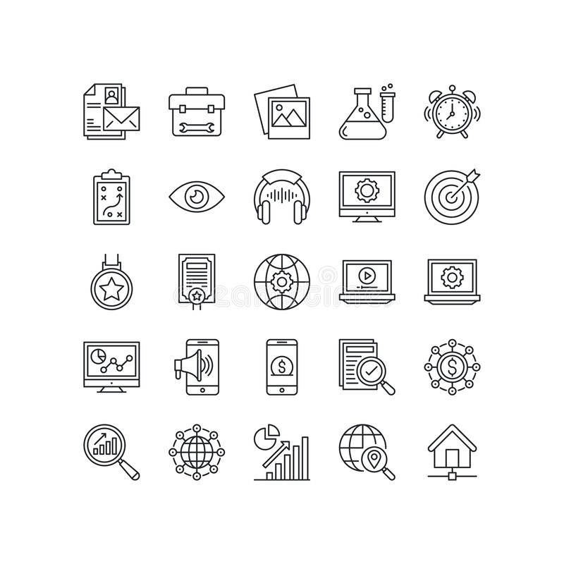Startup and Development line icon set, business symbols collection,  illustrations. Startup and development line icon set, business symbols collection royalty free illustration