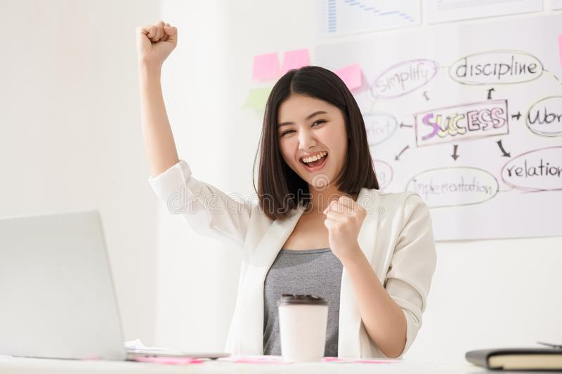 Startup diversity teamwork brainstorming meeting concept. Successful happy business woman working in a workplace stock image
