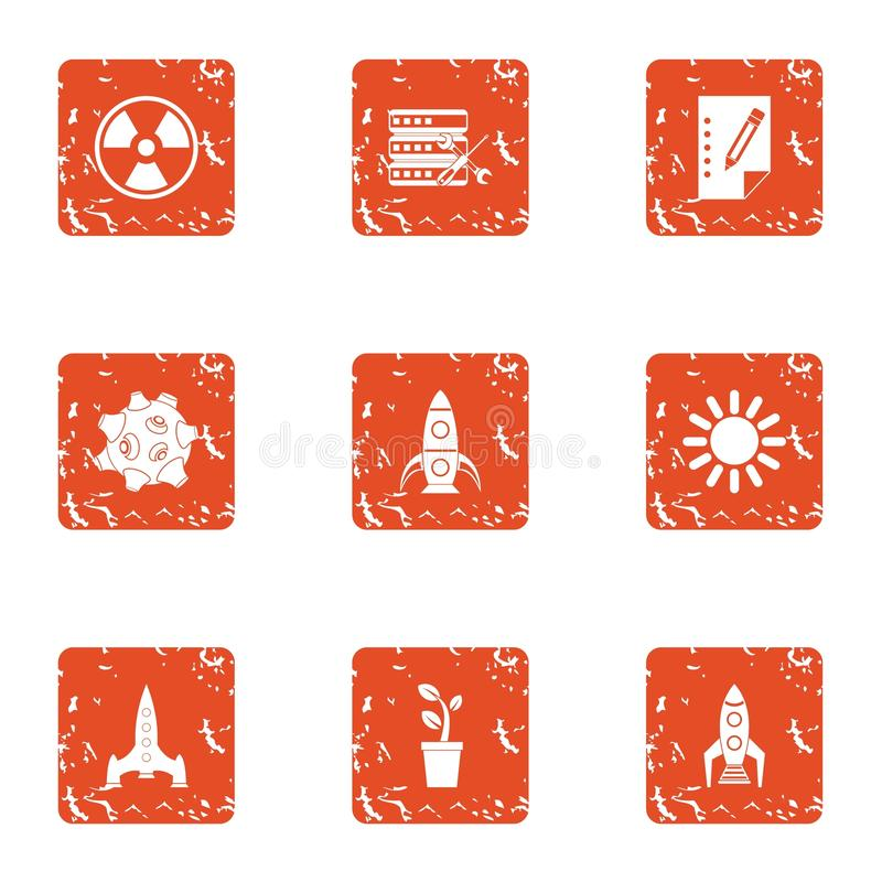 Startup factory icons set, grunge style vector illustration