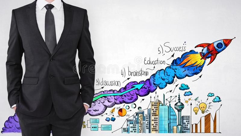 Startup and finance concept. Businessman standing on concrete wall background with creative launching rocket sketch. Startup and finance concept vector illustration