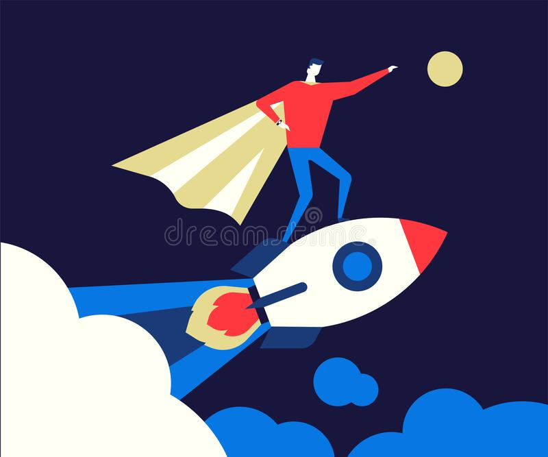 Startup - flat design style conceptual colorful illustration stock illustration