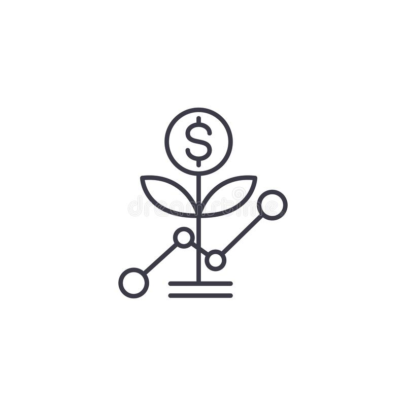 Startup growth linear icon concept. Startup growth line vector sign, symbol, illustration. royalty free illustration