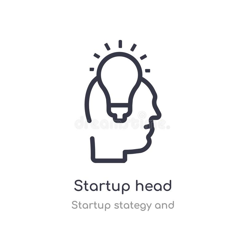 Startup head outline icon. isolated line vector illustration from startup stategy and collection. editable thin stroke startup. Head icon on white background stock illustration