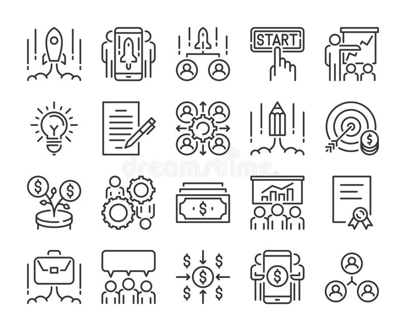 Startup icon. Business Start Up line icons set. Vector illustration. Startup icon. Business Start Up line icons set. Vector illustration stock illustration