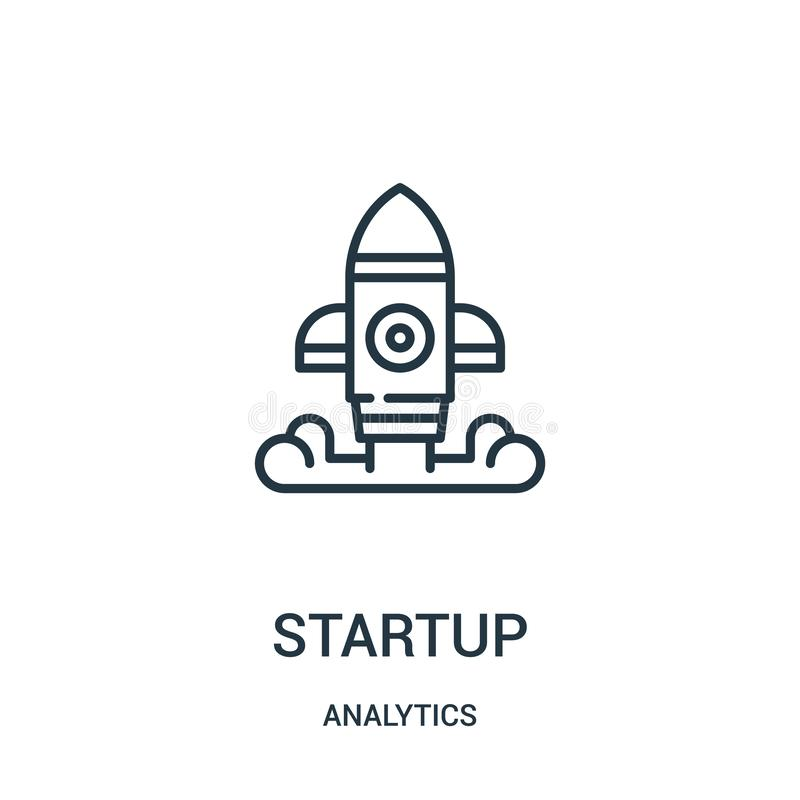 Startup icon vector from analytics collection. Thin line startup outline icon vector illustration. Linear symbol for use on web and mobile apps, logo, print royalty free illustration