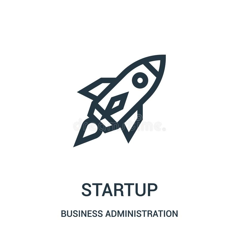 Startup icon vector from business administration collection. Thin line startup outline icon vector illustration. Linear symbol for use on web and mobile apps royalty free illustration