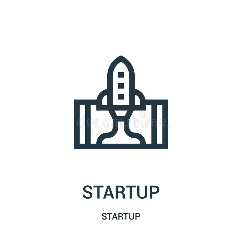 Startup icon vector from startup collection. Thin line startup outline icon vector illustration. Linear symbol for use on web and mobile apps, logo, print royalty free illustration