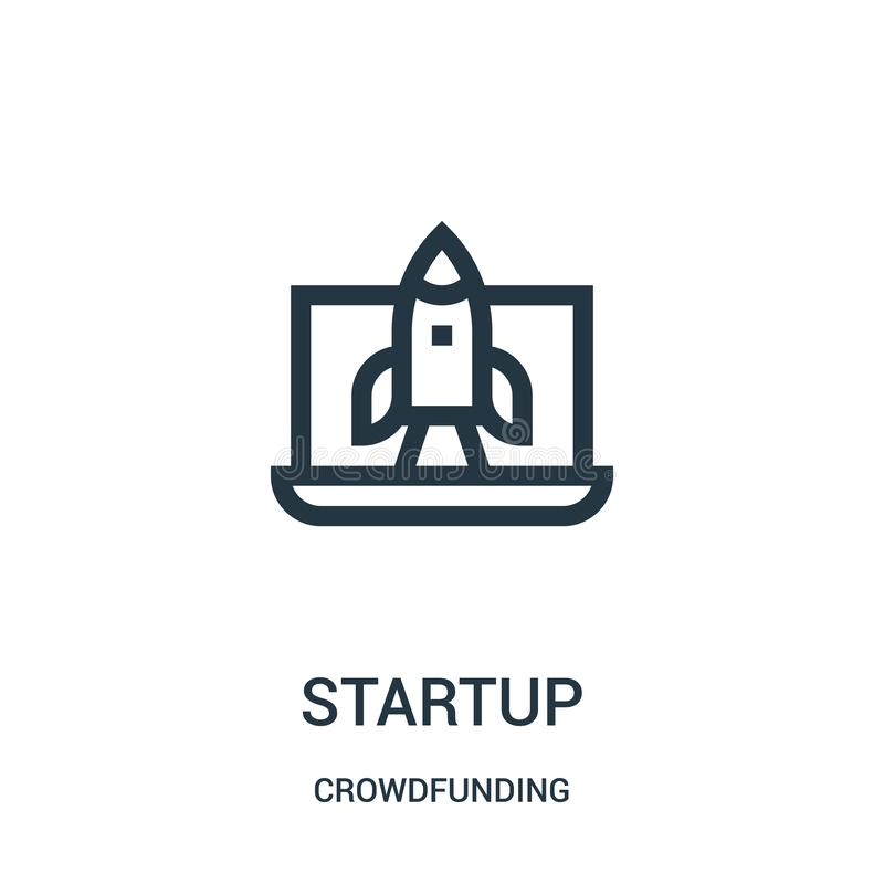 Startup icon vector from crowdfunding collection. Thin line startup outline icon vector illustration. Linear symbol for use on web and mobile apps, logo, print vector illustration
