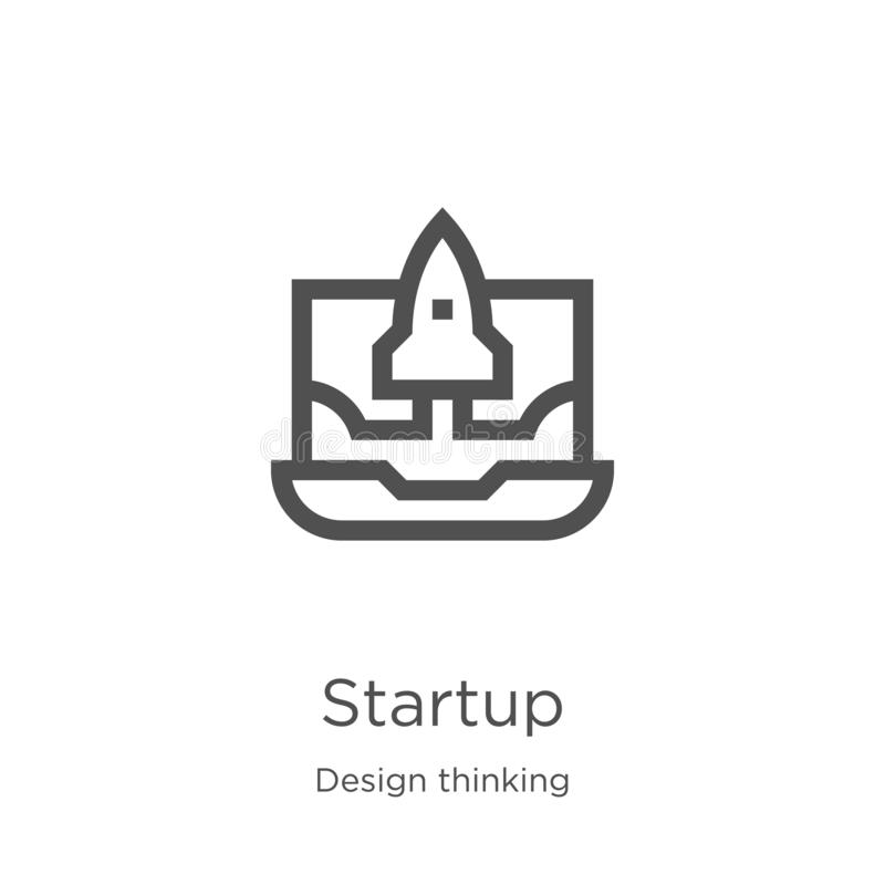 Startup icon vector from design thinking collection. Thin line startup outline icon vector illustration. Outline, thin line. Startup icon. Element of design royalty free illustration