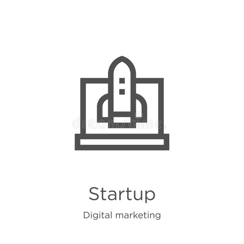 Startup icon vector from digital marketing collection. Thin line startup outline icon vector illustration. Outline, thin line. Startup icon. Element of digital royalty free illustration